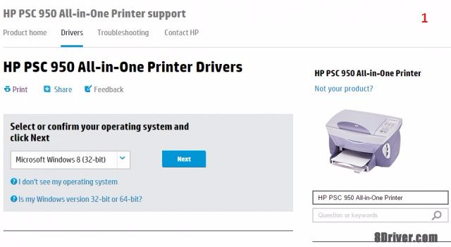 download HP Officejet Pro 8000 Printer - A809a driver 1
