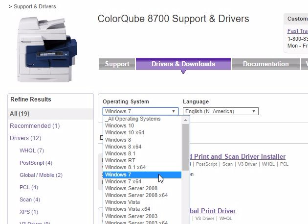 select Xerox DocuColor 1632 printer driver operating system